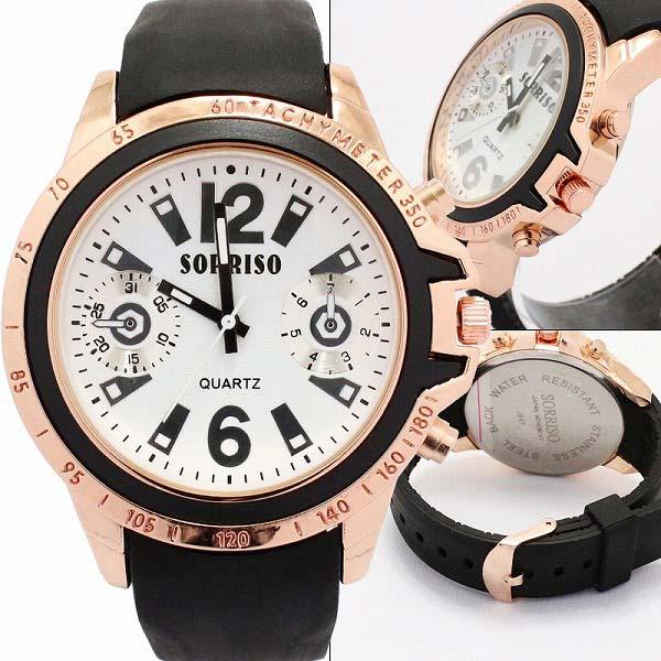 腕時計 ビッグフェイス ラバーベルト ピンクゴールド クロノ調デザイン カジュアル ウォッチ メンズ
