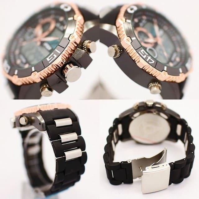 腕時計 アナデジ デジアナ×メタルバンド アナログ&デジタル バックライト アラーム ステンレススティール ウォッチ メンズ