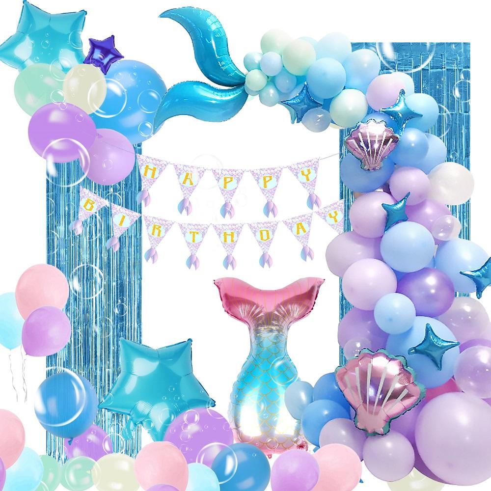 マーメイド 正規認証品 新規格 プリンセスのお誕生日飾り付けセット 楽しいバースデーパーティーを☆ 誕生日 定番の人気シリーズPOINT(ポイント)入荷 バルーン 飾り付け セット 風船 バースデー パーティー プリンセス ブルー Balloon 女の子 マーメイドテイル 人魚 プレゼント 子供 装飾 DIY 貝殻 海 Birthday