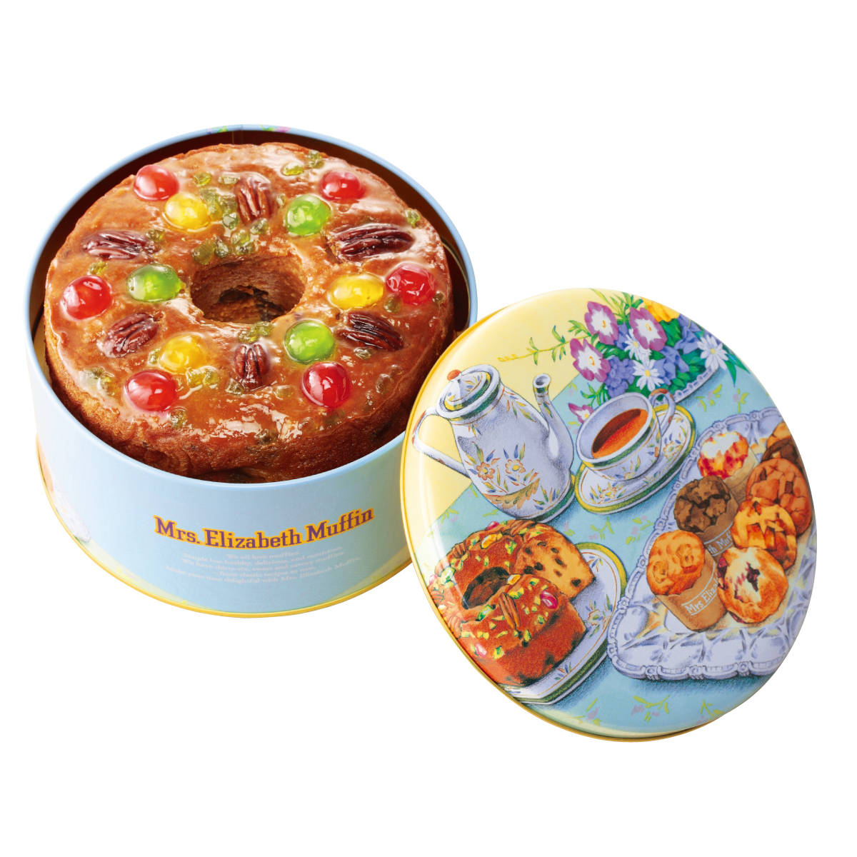 洋酒に漬けた4種類のフルーツを使用した伝統の味 送料込 一部予約 ミセスエリザベスマフィン缶入りフルーツケーキ 通常缶 購入