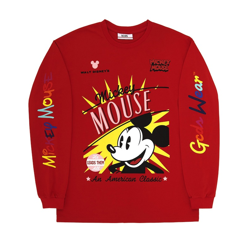 77c2bab5b29 GCDS FW19M02DY11 RED red MICKEY MOUSE Mickey Mouse long T-shirt  street-style Lady's / men