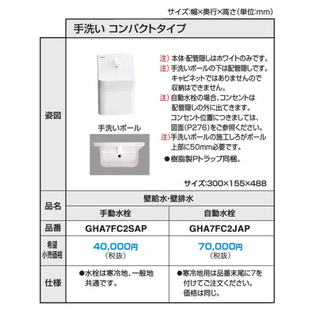 パナソニック アラウーノ向け手洗いコンパクトタイプ(自動水栓/壁給水・壁排水)【GHA7FC2JAP】