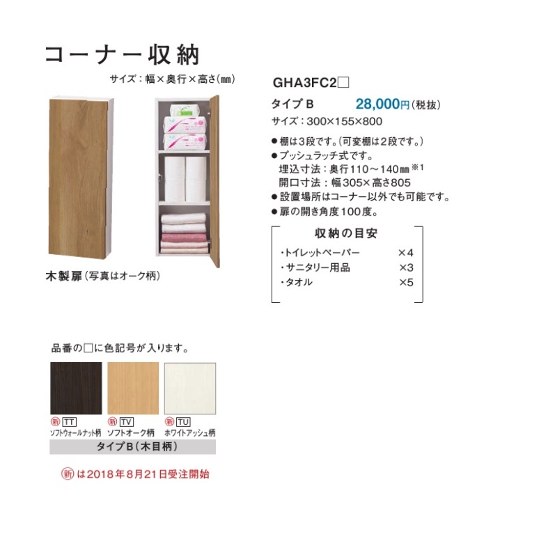 パナソニック アラウーノ手洗い向けコーナー収納(タイプB) 【GHA3FC2□】