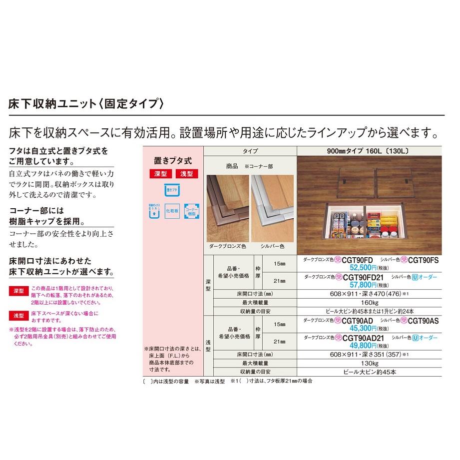 パナソニック 床下収納 置きブタ式・浅型(枠厚:21mm・900mmタイプ/160L)【CGT90AD21】