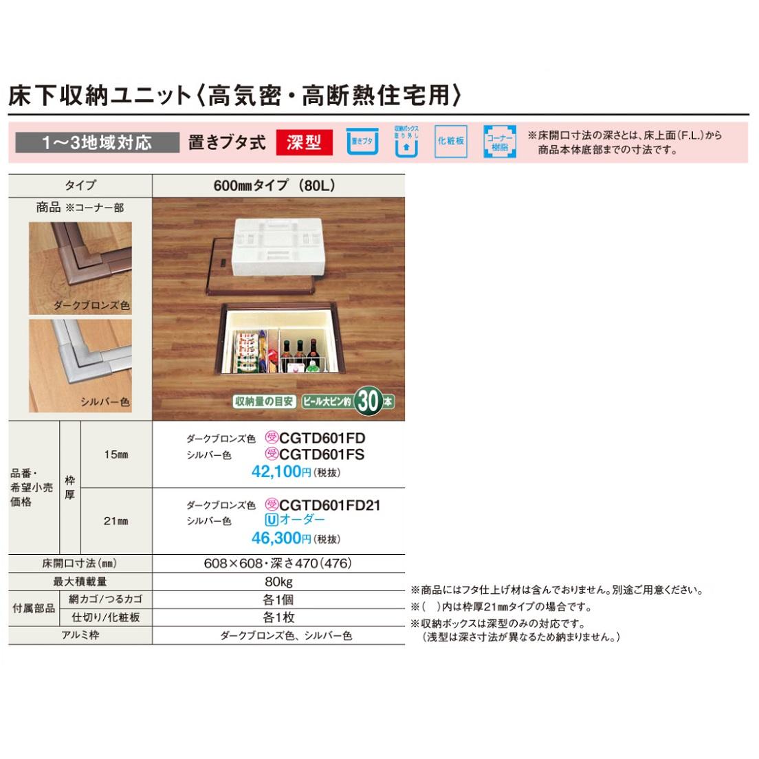 パナソニック 床下収納 置きブタ式(枠厚15mm/高気密・高断熱住宅用) 【CGTD601FD】