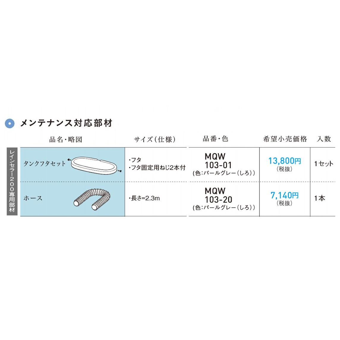 パナソニック 雨水貯蔵タンクレインセラー200専用部材タンクフタセット【MQW103-01】