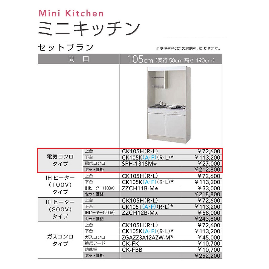 クリナップ ミニキッチンセットプラン(扉タイプ・電気コンロ)【CK105H(R・L) CK105KA(R・L) SPH-131SM】