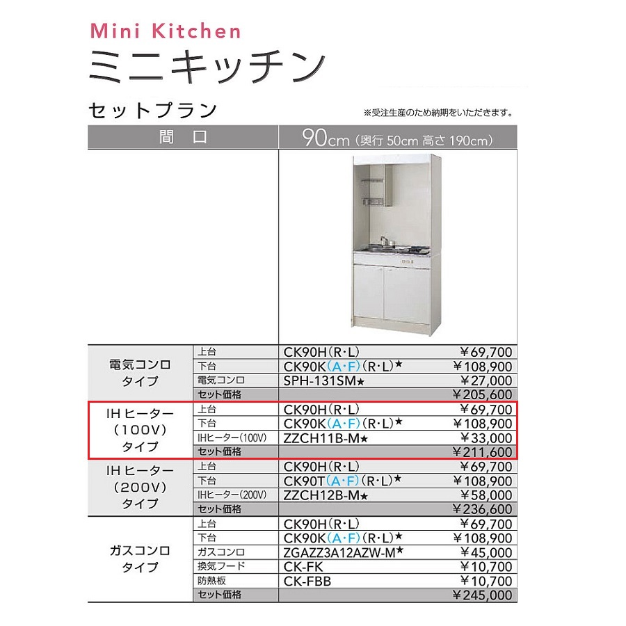 クリナップ ミニキッチンセットプラン(扉タイプ・IHヒーター/100V)【CK90H(R・L) CK90KA(R・L) ZZCH11B-M】