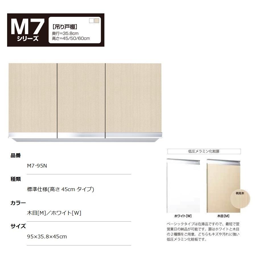 マイセット M7 [ベーシックタイプ]吊り戸棚(標準仕様/高さ45cmタイプ) 【M7-95N[ ]】M7-95NW M7-95NM
