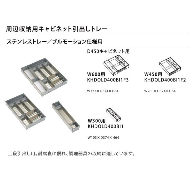 トクラス(ヤマハリビングテック) キッチン オプション Berry収納用キャビネット ブルモーション仕様・D450用(ステンレストレー/W450用) 【KHDOLD400BI1F2】