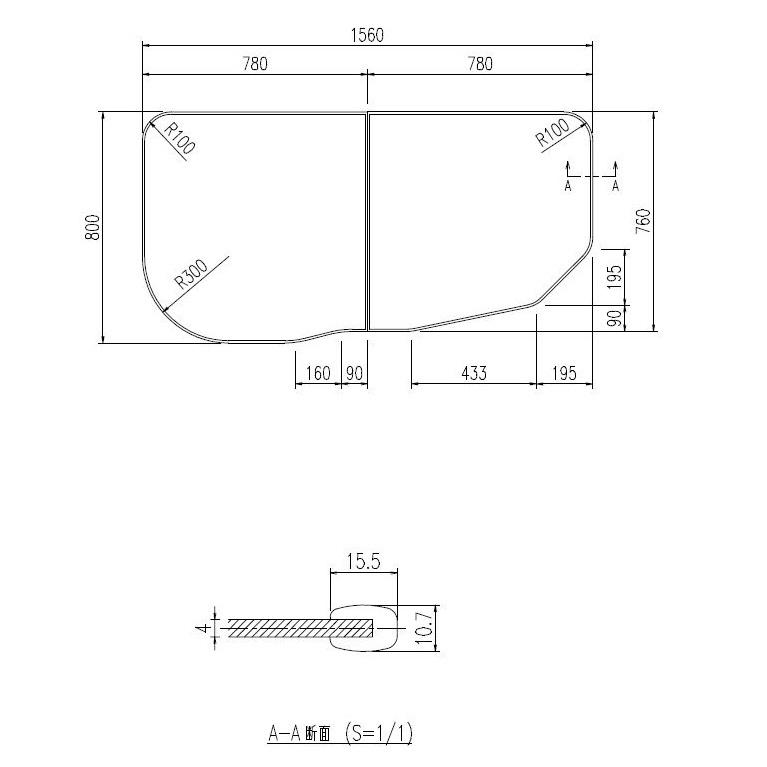 INAX LIXIL リクシル浴室オプション 風呂組フタ(ラ・バス対応・1600サイズ/オーバル浴槽用・右タイプ) 【YFK-1676B(1)R※】
