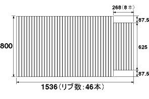 パナソニック 風呂フタ(長辺1536ミリ×短辺800ミリ:巻きフタ:長方形:切り欠きあり)【RLGA1605EC】旧品番:GA1607C
