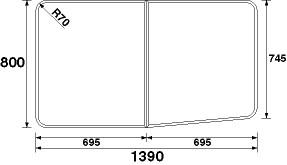 パナソニック 風呂フタ(長辺1390×短辺800:組みフタ:長方形:2枚:切り欠きなし)【GZ982C】