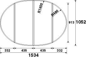 パナソニック 風呂フタ(長辺1534×短辺1052:組みフタ:楕円形:4枚:切り欠きなし)【GZ9631C】
