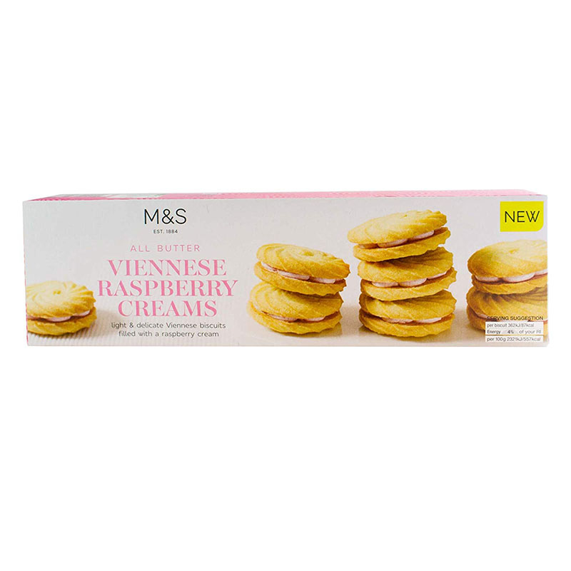 英国より直送 MS Marks 信憑 Spencer All Butter Raspberry Creams ビスケット オールバター スペンサー 別倉庫からの配送 ラズベリークリーム 英国マークス 英国より発送 125g