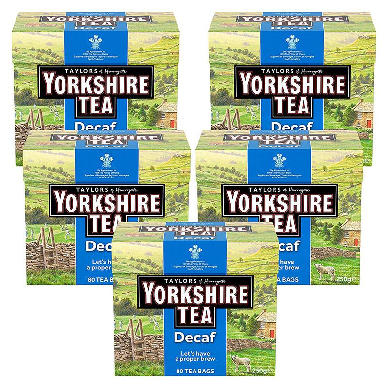 Yorkshire Tea Decaffeinated Tea Bags 250 g (Pack of 5)