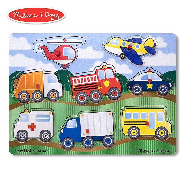 Melissa&Doug (メリッサ&ダグ) 木製パズル のりもの パズル Vehicles Peg 知育玩具