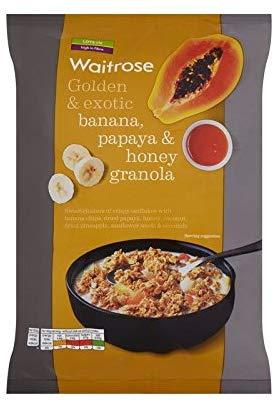 Waitrose Golden & Exotic Banana, Papaya & Honey Oat Crunchy Waitrose 1kg (Pack of 6)