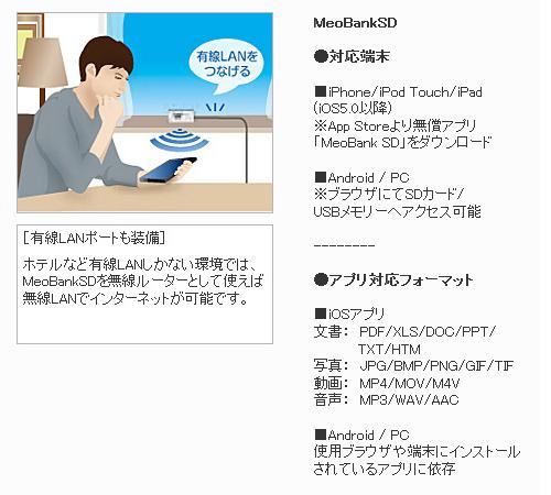 takusan TAXAN无线SD读卡器&WiFi路由器[MeoBankSD MBSD-SUR01/W]MB SD智能手机智能手机iPhone iPod iPad Android PC个人电脑动画照片文献