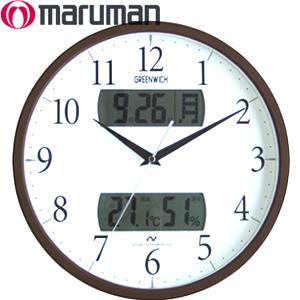 有丸万maruman电波挂钟格林尼治GREENWICH[MJU823BR]暗褐色日历&温度、湿度表示的湿度计温度计墙壁装饰钟表电波钟表原子钟数字信号收信自动时刻修改