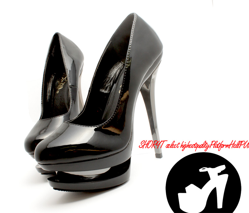 [#SH-OLB796] Large size and heavy bottom pumps / pointy toe / enamel / imported shoes pleaser pleaser high heels trampling / 15 cm/2 /blk/14-16/pumps