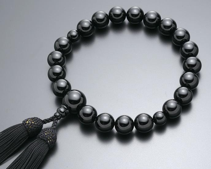 数珠 男性用 念珠 略式数珠 黒オニキス 共仕立 正絹房 全宗派対応 桐箱入