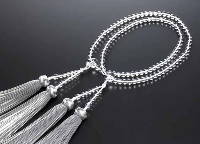 【10%割引クーポン配布中】 二輪数珠 二輪念珠 女性用 水晶 共仕立 正絹花かがり房 本式数珠 桐箱入