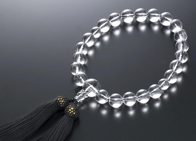 【10%割引クーポン配布中】 数珠 男性用 念珠 略式数珠 水晶 共仕立 正絹房 全宗派対応 桐箱入