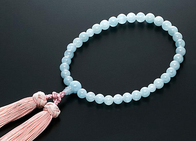 【10%割引クーポン配布中】 数珠 女性用 念珠 アクアマリン 正絹花かがり房 全宗派対応 3月誕生石 桐箱入