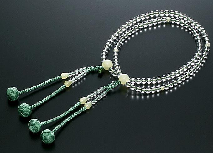 真言宗数珠 女性用 念珠 水晶 緑オニキス仕立 正絹かがり梵天房 108玉 宗派別数珠 桐箱入