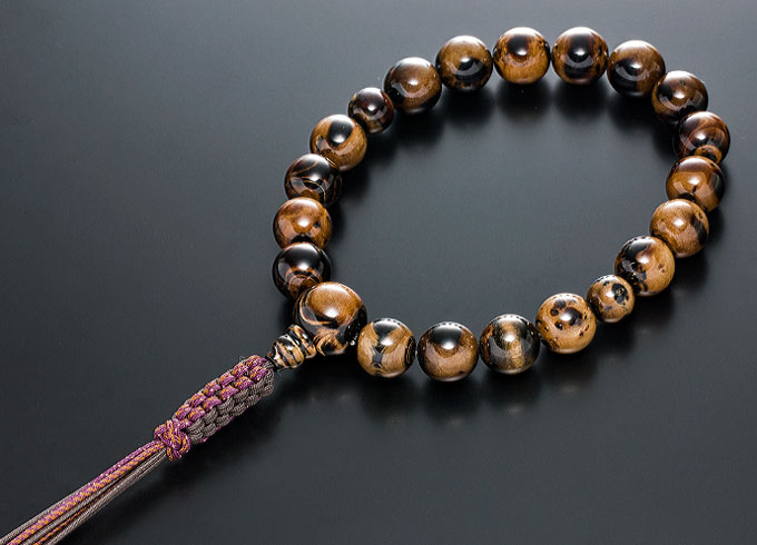 【10%割引クーポン配布中】 数珠 男性用 念珠 略式数珠 海松 共仕立 正絹紐房 全宗派対応 桐箱入