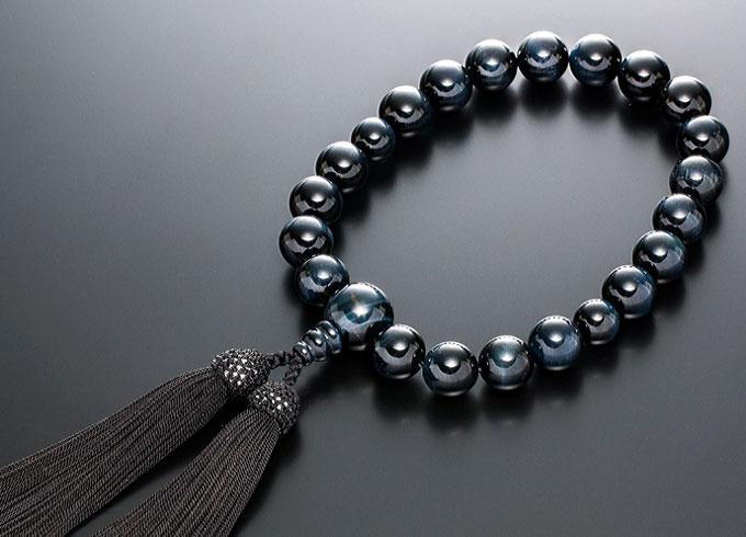 数珠 男性用 念珠 略式数珠 青虎眼石 共仕立 正絹房 全宗派対応 桐箱入