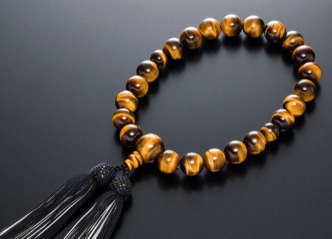 【10%割引クーポン配布中】 数珠 男性用 念珠 略式数珠 虎眼石 共仕立 正絹房 全宗派対応 桐箱入