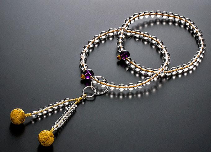 【10%割引クーポン配布中】 浄土宗数珠 念珠 女性用 水晶 紫水晶仕立 正絹かがり梵天房 宗派別数珠 桐箱入