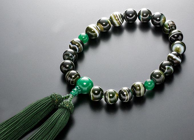【10%割引クーポン配布中】 数珠 男性用 念珠 略式数珠 緑縞瑪瑙 アベンチュリン仕立 正絹房 全宗派対応 桐箱入
