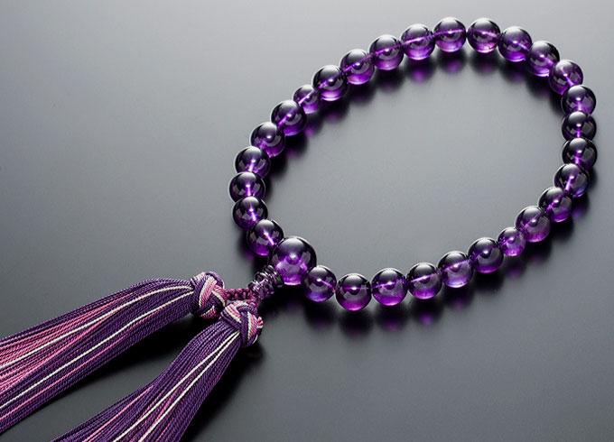 【10%割引クーポン配布中】 数珠 女性用 念珠 紫水晶 共仕立 正絹花かがり房 全宗派対応 2月誕生石 桐箱入