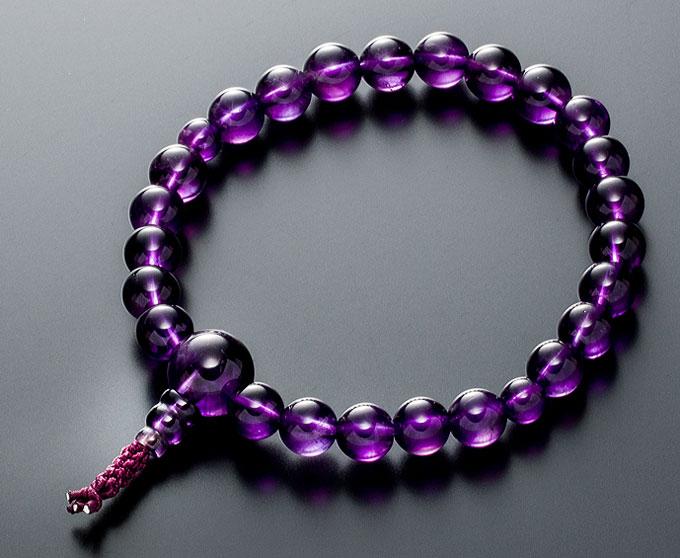 【10%割引クーポン配布中】 数珠ブレスレット 房付き 腕輪念珠 紫水晶 アメジスト 8mm 共仕立て 古代紫 4本組 手首数珠 桐箱入