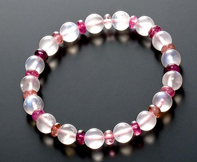 【10%割引クーポン配布中】 数珠ブレスレット 天然石 ムーンストーン ピンクトルマリン コンビブレスレット