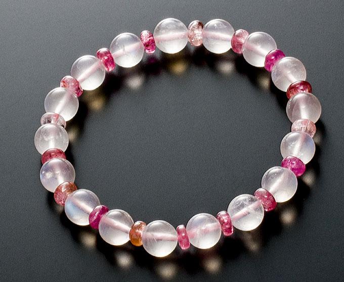 【10%割引クーポン配布中】 数珠ブレスレット 天然石 ムーンストーン 8mm ピンクトルマリン コンビブレスレット