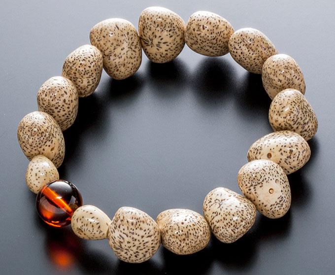 【10%割引クーポン配布中】 数珠ブレスレット 星月菩提樹 原実 琥珀 こはく入り お守り ボダイジュ