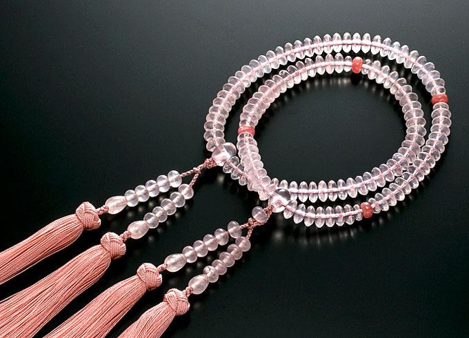 【10%割引クーポン配布中】 二輪数珠 二輪念珠 女性用 紅水晶 インカローズ合わせ 正絹花かがり房 本式数珠 桐箱入