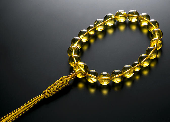 【10%割引クーポン配布中】 数珠 男性用 念珠 琥珀 アンバー 15mm 共仕立 正絹紐房 全宗派対応 桐箱入