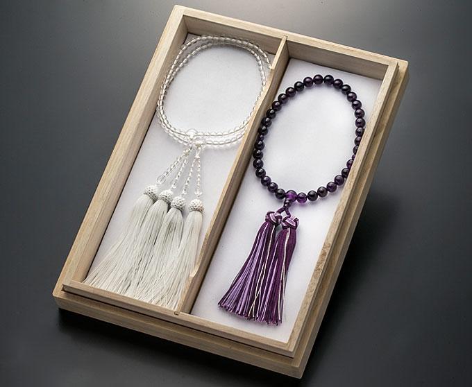 【10%割引クーポン配布中】 女性用数珠 念珠セット 紫水晶 本水晶108玉 共仕立 正絹房 桐箱入