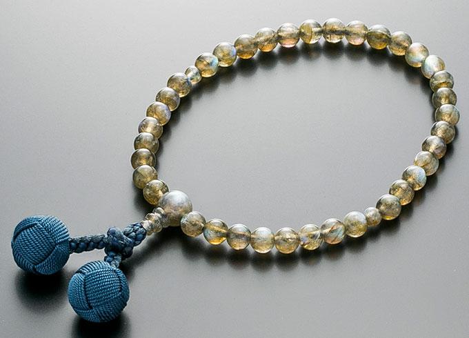 【10%割引クーポン配布中】 数珠 女性用 念珠 ラブラドライト 共仕立 正絹かがり梵天房 全宗派対応 桐箱入