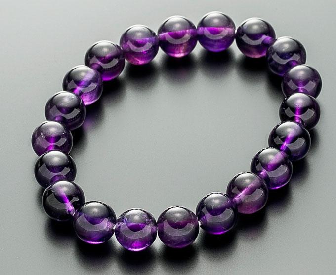 【10%割引クーポン配布中】 数珠ブレスレット アメジスト (紫水晶) 10mm 桐箱入