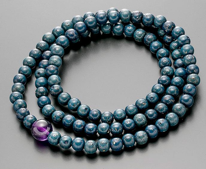 【10%割引クーポン配布中】 数珠ブレスレット 腕輪念珠 108玉 星月菩提樹 藍染 紫水晶仕立 手首数珠 桐箱入