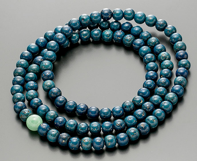 【10%割引クーポン配布中】 数珠ブレスレット 腕輪念珠 108玉 星月菩提樹 藍染 ビルマ翡翠仕立 手首数珠 桐箱入