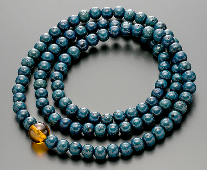 【10%割引クーポン配布中】 数珠ブレスレット 腕輪念珠 108玉 星月菩提樹 藍染 本琥珀仕立 手首数珠 桐箱入