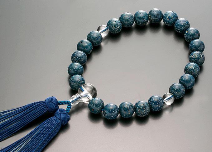 【10%割引クーポン配布中】 数珠 男性用 念珠 略式数珠 星月菩提樹 藍染 本水晶仕立 正絹房 全宗派対応