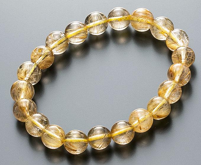 【10%割引クーポン配布中】 数珠ブレスレット ルチルクォーツ 金線入水晶 10mm 天然石 桐箱入